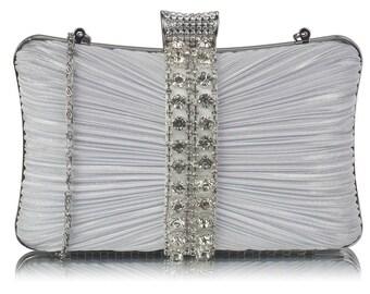 Gorgeous White Silver Crystal Strip Clutch Evening Bag Bridal Prom BAG30