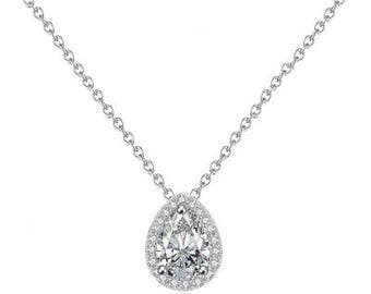 Silver Dainty Small Pendant Cubic Zirconia Necklace Bride Bridesmaid
