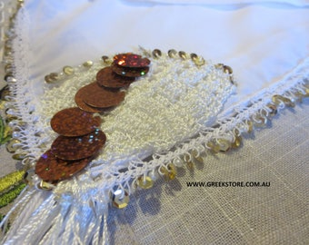 Gold sequined square headkerchief (for traditional Greek costume)