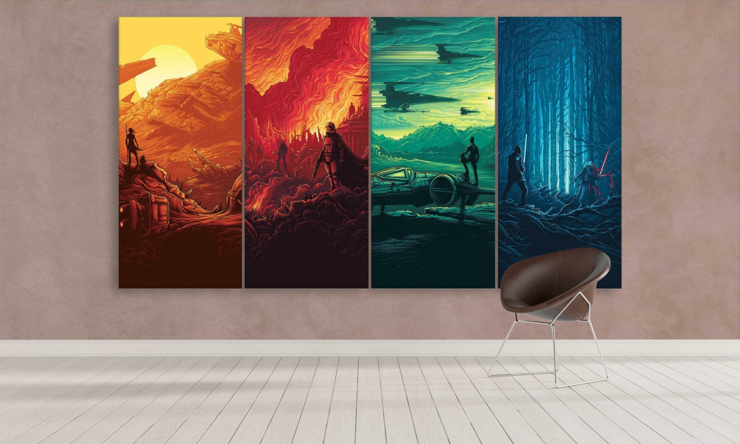 Star wars wall decor canvas : Extra large star wars canvas art panel wall by