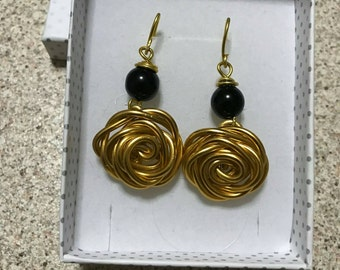 Earrings wire Black Onyx and Pearl