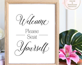 Printable wall art, Welcome Please Seat Yourself, Toilet Printable, Bathroom Art, Printable Quote, Toilet Print, Bathroom Printable, Prints.