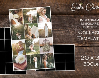 12 Square Month Instagram Poster Photo Digital Collage Storyboard Photographer Template PSD Social Media Blog Facebook Pinterest Photography