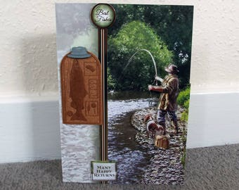 Male Birthday Card - Fishing  - luxury personalised unique quality special bespoke UK - Dad/Son/Uncle/Brother/Nephew