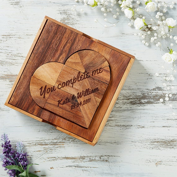 """Heart-Shaped Wooden Puzzle – Tangram - Beautifully Engraved: """"You Complete Me"""" – Personalised With Names And Date - Brainteaser"""