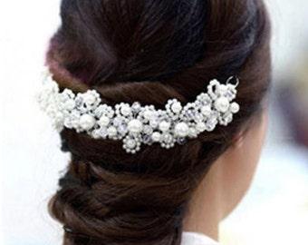 CHARLENE - White Pearl Hair Piece