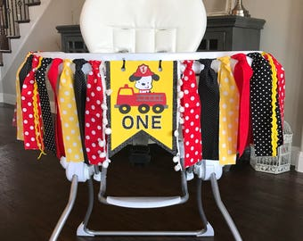 Fire Truck High Chair Birthday Banner