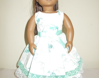18 Inch White and Mint Green Party Dress