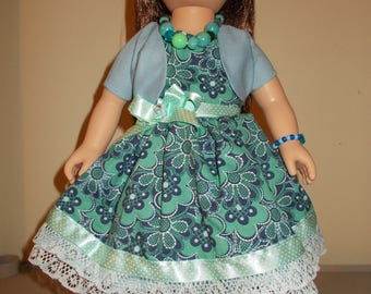 """18 Inch """"Happy Blue Blossoms"""" Sundresses; One with Bolero; One with Sweater"""