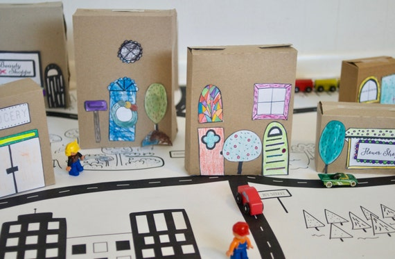 Paper House Illustrations, Recycled Toy, DIY Toy
