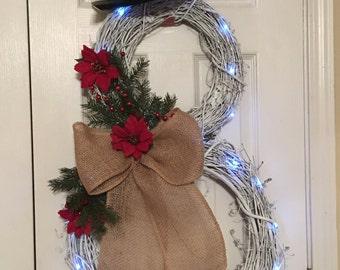 Snowman wreath, burlap snowman, lighted snowman