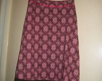 Vintage Pink, Brown, Cotton, Lined, Boho Style Skirt Size 6