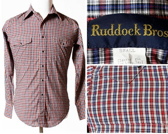 Vintage Men's Western Shirt Plaid Ruddock Brothers - Retro Bros 90s Small S Country