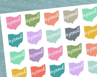 Ohio Proud, Planner Stickers, Ohio Stickers, State Pride Stickers, Buckeye State, State of Ohio, Colorful Planner Stickers
