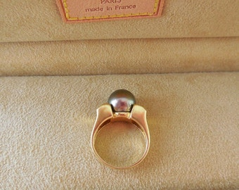 Ring 18 ct Gold + Diamond + Pearl haiti