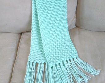 Knitted Mint Green Scarf, fringe scarf,women's scarf,winter scarf,women's scarf,gift,Handmade