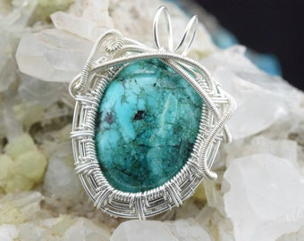 Wire Wrap silver plated copper wire Turquoise pendant