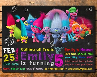 Trolls Birthday Invitation, Trolls Invite, Trolls Invitation, Trolls Party, Trolls Birthday, Troll Invite, Troll Birthday, Troll Invitation