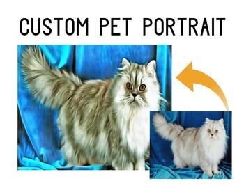 Custom Cat Painting, Cat Decor Gift, Cat Wall hanging, custom cat artwork, cat oil painting, Persian cat art, customized pet gifts