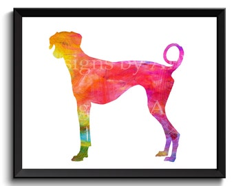 Azawakh dog art, Azawakh poster, watercolor Azawakh, idi dog art, hanshee art, oska print, rawondu, bareeru dog, instant - SKU1014