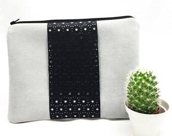 Clutch bag Nella Grey Suede artificial Vegan EC créa'ture