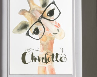 Art print of an original watercolor painting of this adorable giraffe.