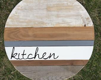 Kitchen Wall Decor, Kitchen Wood Sign, Kitchen Wood Round, Round Monogram, Wood Round, Customized, Custom Monogram