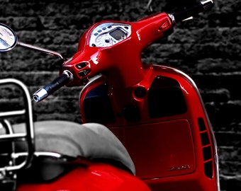 A red Vespa - Red - Vespa - Italy - Photography - Art photo - Colors photo - black and white photo - Tuscany photo -