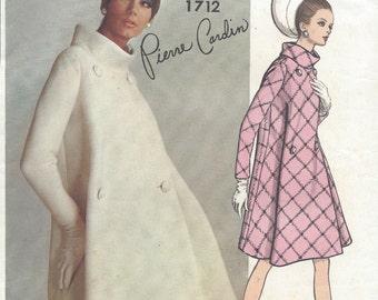 1960s Vintage VOGUE Sewing Pattern B36 COAT (1018) By 'Pierre Cardin'