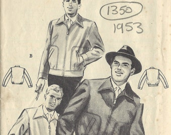 "1953 Vintage Sewing Pattern MEN'S JACKET C38""-40' (1350) By Butterivk 6658"