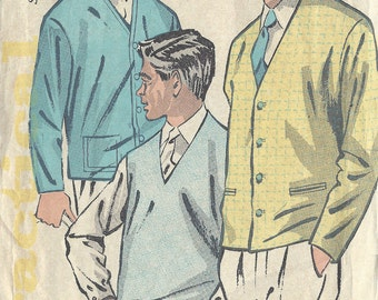 "1950s Vintage Sewing Pattern S36""-38"" MENS PULLOVER CARDIGAN (R951) By Practical 5705 (Non knitted)"