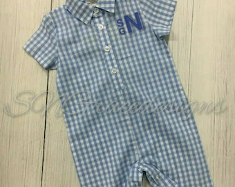 Monogramed Gingham romper