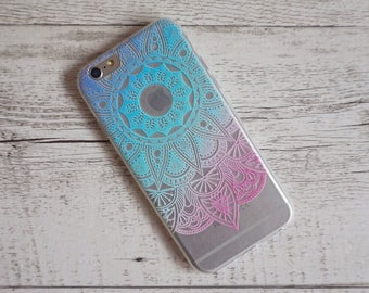 Blue Mandala Sun Paisley Henna Design Soft iPhone Mobile Phone Case - for; iPhone 5/5s, 6/6s and 6/6s Plus, SE, 7 & 7 Plus