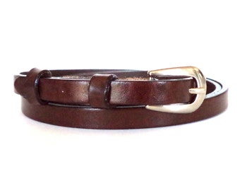 1 cm/0,4 inch skinny leather dress belt, thin women's belt, brown leather belt