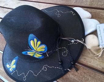 "Handpainted hat "" butterfly"""