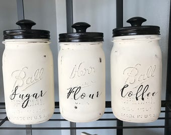 Rustic Mason Jar Dry Goods Containers