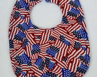 Patriotic Baby Bib - Flag Red White and Blue Bib - Baby Boy Girl, Baby Shower Gift, New Mom