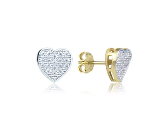 10K Solid Yellow White Gold Cubic Zirconia Heart Stud Earrings - Love Cluster