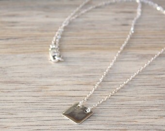 Necklace square plate on silver chain