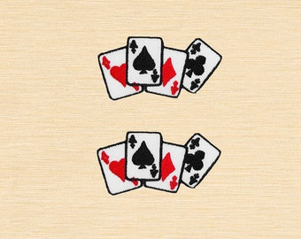 Set of 2 pcs Mini Aces Card Poker Game Iron On Patches Sew On Appliques