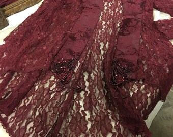 Burgundy Dress with Lace jacket