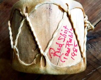 Taos Pueblo Native American Drum, signed by Chief Red Shirt 1985 Pueblo Indians