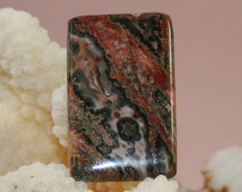 Leopard Skin Jasper with Interesting Patterns in this 31 x 19 Cabochon (E)