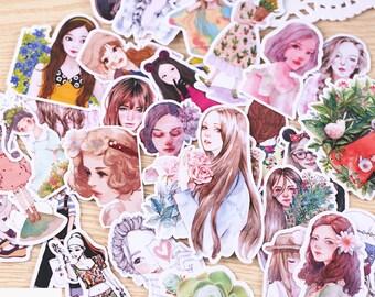 33 Pcs Girls Planner Sticker, Girl Sticker Flakes, Filofax Stickers, Scrap booking, Schedule stickers, Girl Life Sticker Flakes