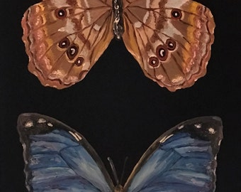 Blue Morpho Didius Butterfly Front and Back Original Oil Painting