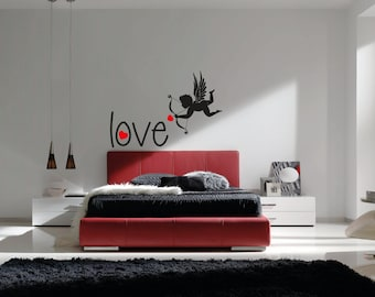 Cupid Love - Quotes Lovely Valentines Day - Mural Wall Decal For Home Bedroom Living Room