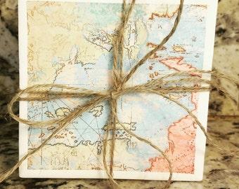 Ceramic Map Coasters (4)