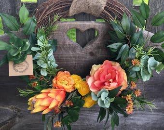 Spring wreath summer wreath farmhouse wreath grapevine wreath tropical wreath orange yellow wreath