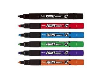 6-Color Set - Pentel MMP20 Assorted Colors 4.0mm Medium Bullet Point Paint Markers