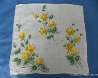 Vintage 1950's Handkerchief with Yellow Roses